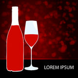Elegant wine bottle and glass illustration Royalty Free Stock Photos