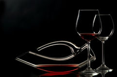 Elegant wineglass and decanter Royalty Free Stock Photography