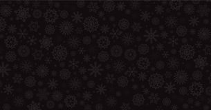 Elegant winter black background with silver falling snow flakes. Christmas or new year template with space for text. Vector illustration, banner stock illustration