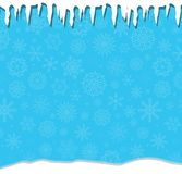 Elegant winter festive  blue background with fallen snowflakes,. Icicles and snowdrifts. Christmas or new year surface with space for text. Vector illustration Royalty Free Stock Images