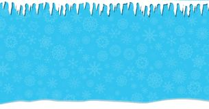 Elegant winter festive  blue banner with fallen snowflakes. Elegant winter festive  blue banner with fallen snowflakes, icicles and snowdrifts. Christmas or new Stock Photos