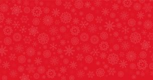 Elegant winter festive  red background. Fallen snowflakes. Christmas or new year template with space for text. Vector illustration, banner, poster Stock Photos