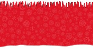 Elegant winter festive  red banner with fallen snowflakes. Icicles ans snow drifts. Christmas or new year template with space for text. Vector illustration Stock Images