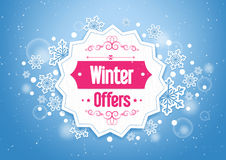 Elegant Winter Offers in Snow Flakes Background. Elegant Winter Offers Word in a Beautiful Snow Flakes Background Stock Photography
