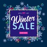 Elegant winter sale banner on colored snow flakes. Winter lettering design with snowflakes in frame and text: up to 70% off, Sale, shop now on blue background stock illustration