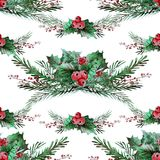 Winter seamless pattern. Elegant winter seamless pattern with holly berries and fir tree branches, design elements. Can be used for winter holiday invitations Royalty Free Stock Photo