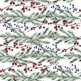 Winter seamless pattern. Elegant winter seamless pattern with holly berries and fir tree branches, design elements. Can be used for winter holiday invitations Royalty Free Stock Photography