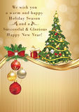 Elegant winter season greeting card for print for Christmas and New Year. Royalty Free Stock Photos