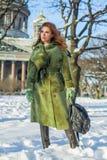 Elegant winter woman fashion model outdoor stock photo