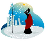 Elegant winter woman illustration Stock Photography