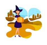 Elegant Witch Holding Pumpkin Flat Illustration stock illustration