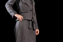 Elegant woman. In winter time. Black background Stock Photos