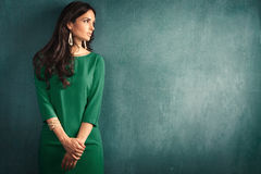 Elegant woman. Elegant mature woman in green dress lean on wall stock photos