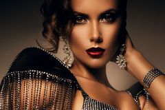 Elegant woman in accessories of stones Stock Photography