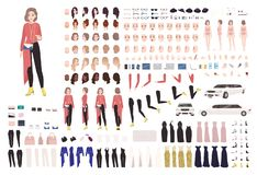 Elegant woman animation kit or DIY set. Collection of body parts, gestures, stylish clothes and accessories. Female. Celebrity in evening outfit. Front, side royalty free illustration
