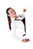 Elegant woman in apron holding blank board Stock Photography