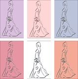 Elegant woman in ballgown with clutch. Coloured background stock illustration