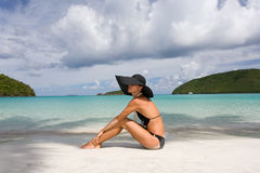 Elegant woman beach Royalty Free Stock Image