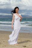 Elegant woman at beach stock image