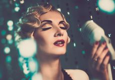 Elegant woman with beautiful hairdo royalty free stock image
