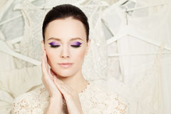 Elegant Woman with Beautiful Makeup Royalty Free Stock Photo