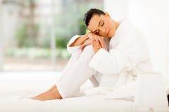 Elegant woman bed Stock Photos