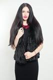 Elegant Woman. Black Dress and Fur Jacket Royalty Free Stock Photos