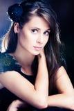 elegant woman in black dress portrait Stock Photography