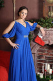 Elegant woman in a blue dress Royalty Free Stock Photography