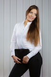 Elegant woman with briefcase Royalty Free Stock Images