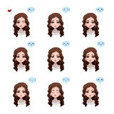 Elegant woman with brown curly hair. And nine different expressions Stock Photo