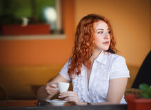 Elegant woman in cafe Stock Image