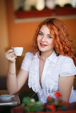 Elegant woman in cafe Stock Photos