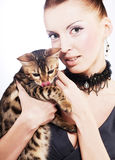 Elegant woman with cat Stock Photo