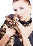 Elegant woman with cat Stock Photo