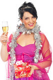 Elegant woman at Christmas party royalty free stock photography