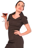 Elegant woman with cocktail. Royalty Free Stock Image
