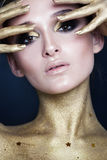 Elegant Woman. Creative Makeup with Gold Stars Stock Images