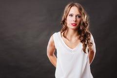 Elegant woman curly hair portrait Stock Photography