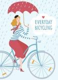 Elegant woman cyclist under the rain  illustration Royalty Free Stock Images