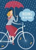 Elegant woman cyclist under the rain vector illustration Stock Image