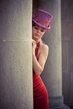 Elegant woman with cylinder Royalty Free Stock Photography