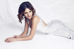 Elegant woman with dark hair wearing luxurious silver dress Stock Photos