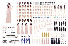 Elegant woman dressed evening prom clothing creation set or DIY kit. Collection of body parts, facial expressions. Postures. Female cartoon character. Front Vector Illustration