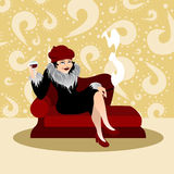 Elegant woman with drink Stock Photo