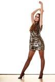 Elegant woman in evening sequin dress Stock Image
