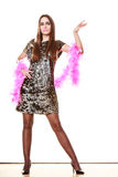 Elegant woman in evening sequin dress Stock Photos