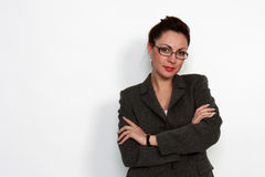 Elegant woman with eyeglasses. Modern elegant business woman  with eyeglasses Royalty Free Stock Image