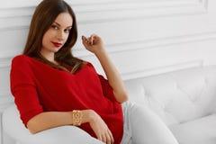 Elegant Woman. Fashionable Beautiful Successful Business Lady Re Stock Photos
