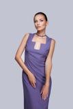 Elegant woman in fashionable stylish dress posing in studio. Stock Photography